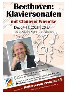 Schönberger Musiktage: Beethoven Klaviersonaten mit Clemens Wiencke
